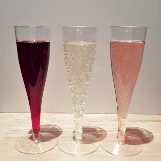 Three colours of sparkling wine