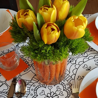 Carrot centerpiece on the table