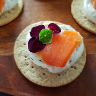 Smoked trout and fresh cheese canapes
