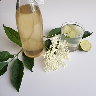 Elderflower cordial with lime